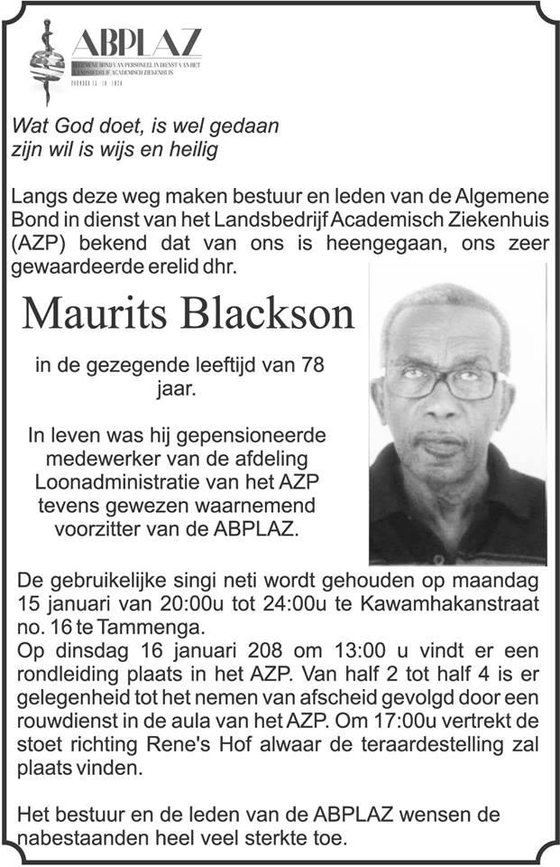 FamilieNieuws Suriname Overleden - Maurits Blackson