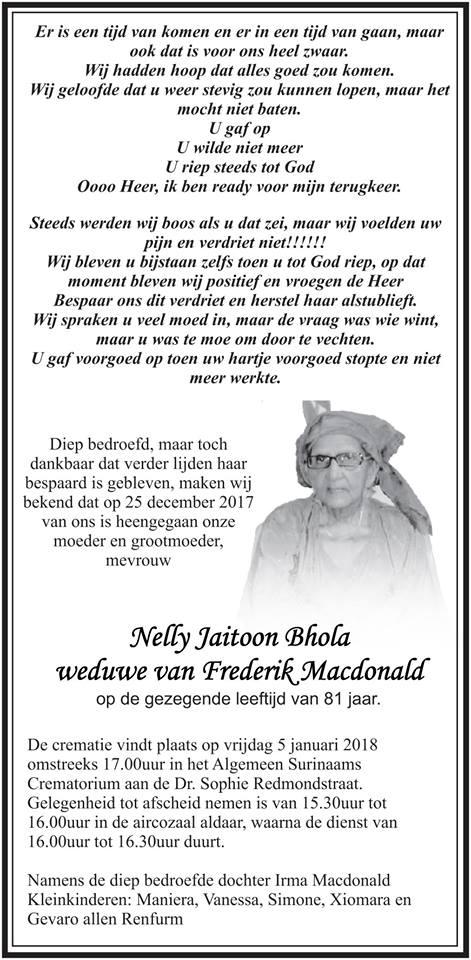 Overleden - Nelly Macdonald - Bhola FamilieNieuws Suriname