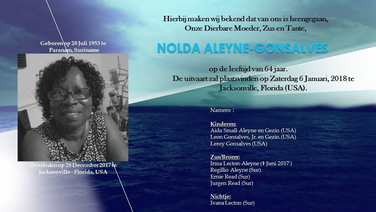 overleden Suriname Aleyne - Gonsalves Amerika FamilieNieuws