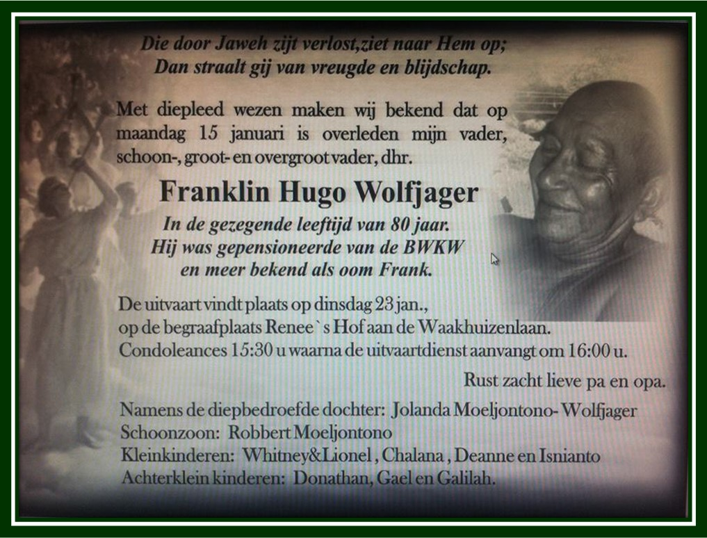 Familienieuws Suriname Overleden - Oom Frank Wolfjager 1