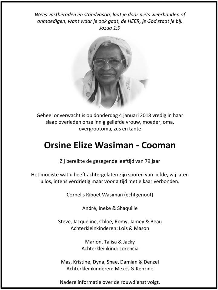 FamilieNieuws Suriname Overleden - Orsine Wasiman - Cooman