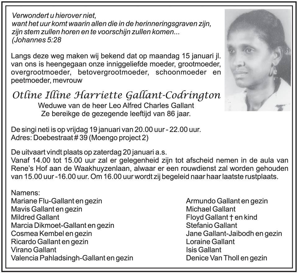 FamilieNiews Suriname Overleden - Otline Gallant - Codrington