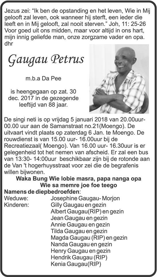 Overleden - Petrus Gaugau FamilieNieuws Suriname