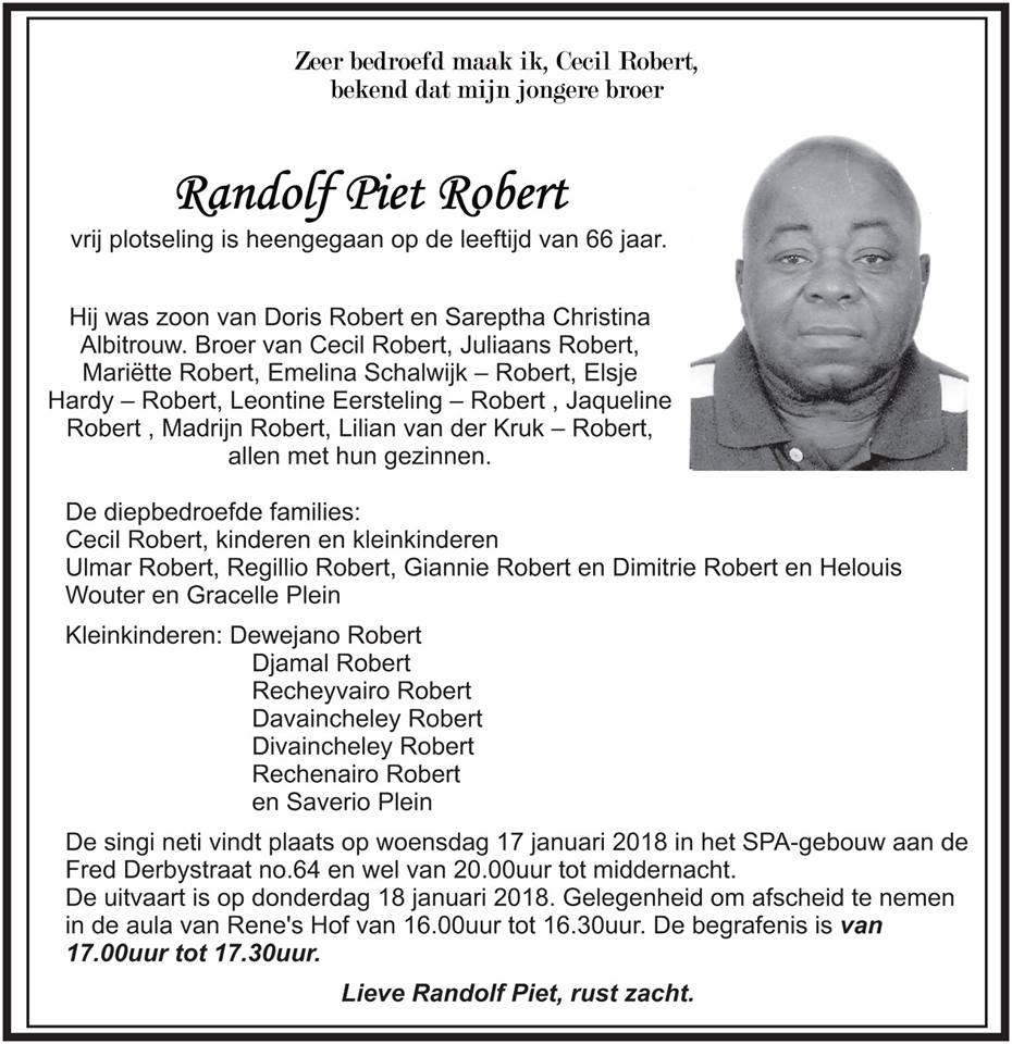 FamilieNieuws Suriname Overleden - Randolf Robert