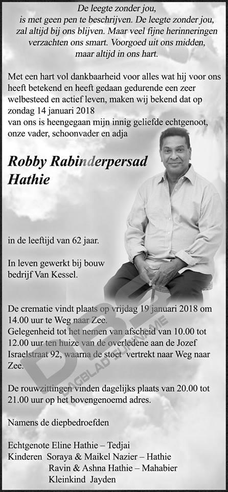 FamilieNieuws Suriname Overleden - Robby Hathie 1