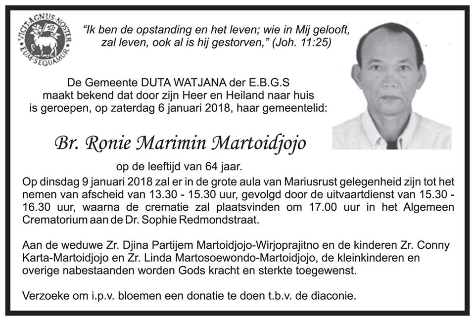 FamilieNieuws Suriname Overleden - Ronie Martoidjojo