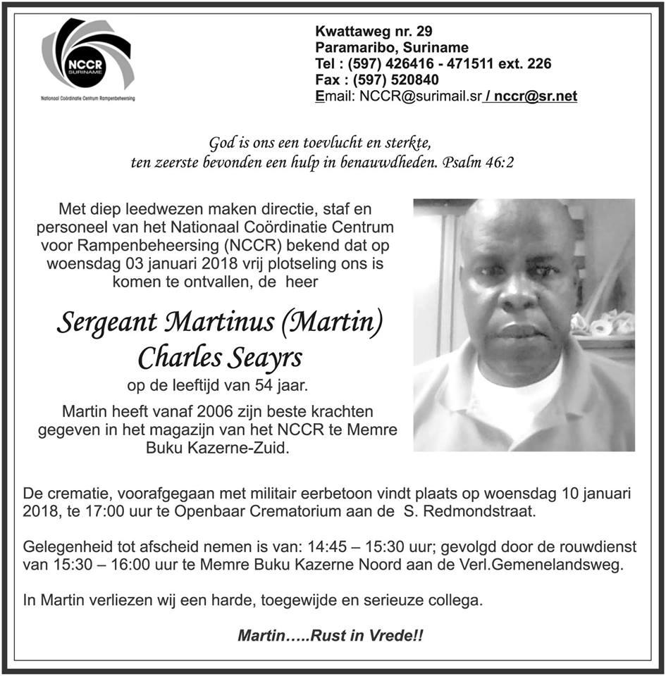 Familienieuws Suriname Militair Overleden - Sergeant 54-jarige Martin Seayrs