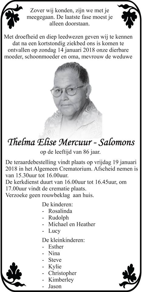 FamilieNieuws Suriname Overleden - Thelma Mercuur - Salomons