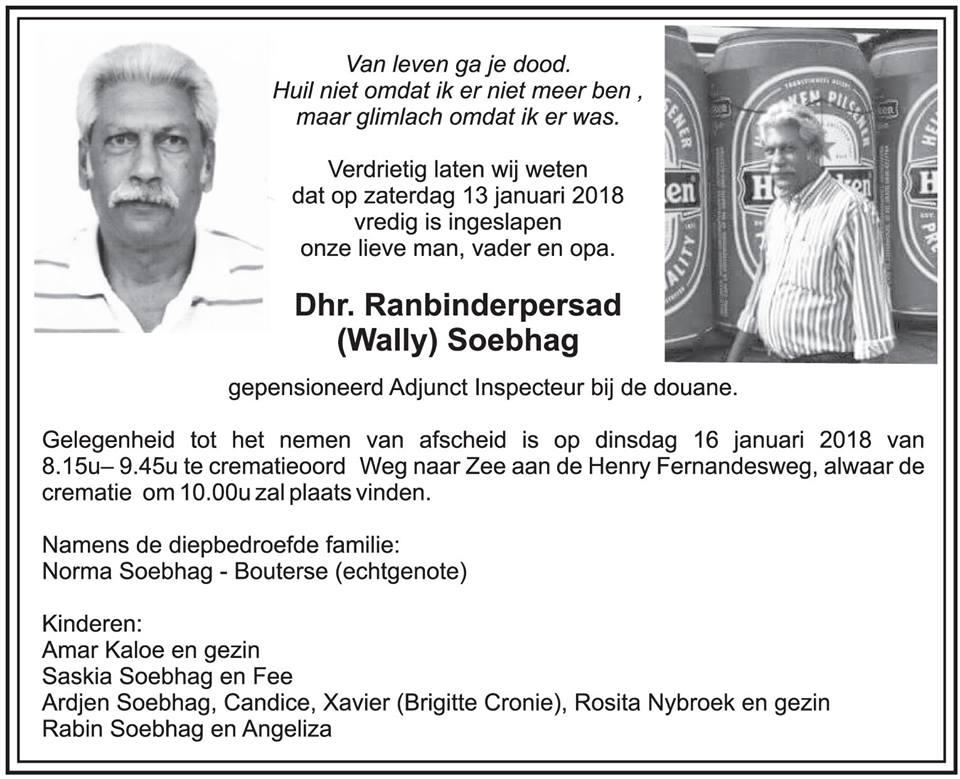 Suriname FamilieNieuws Overleden - Wally Soebhag