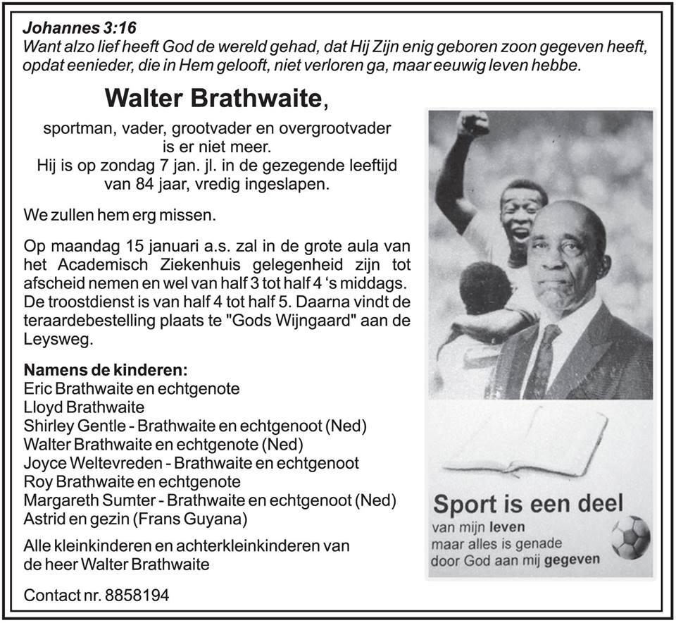FamilieNieuws Suriname Overleden - Walther Brathwaite