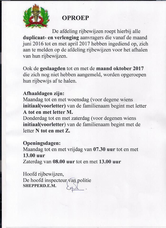 rijbewijs po;itie bekendmaking FamilieNieuws Suriname