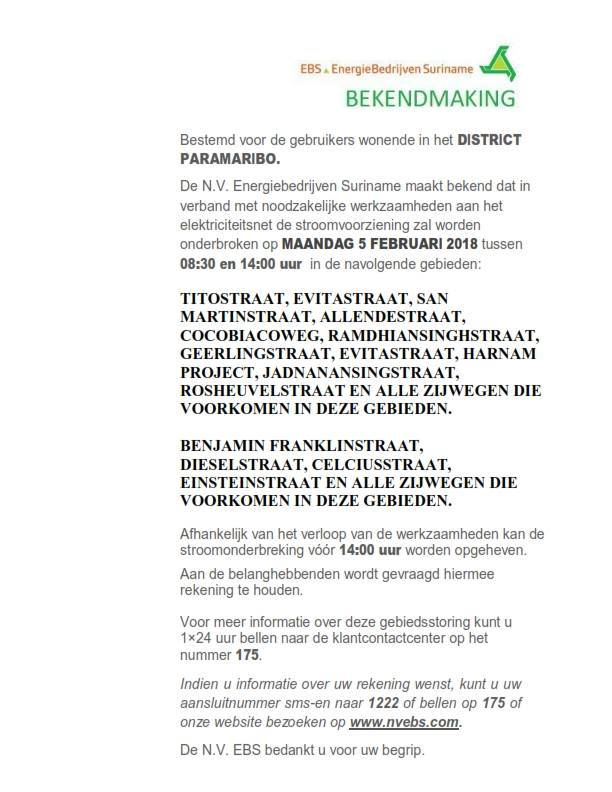 EBS Meerdere stroomonderbreking op maandag 5 februari 2018