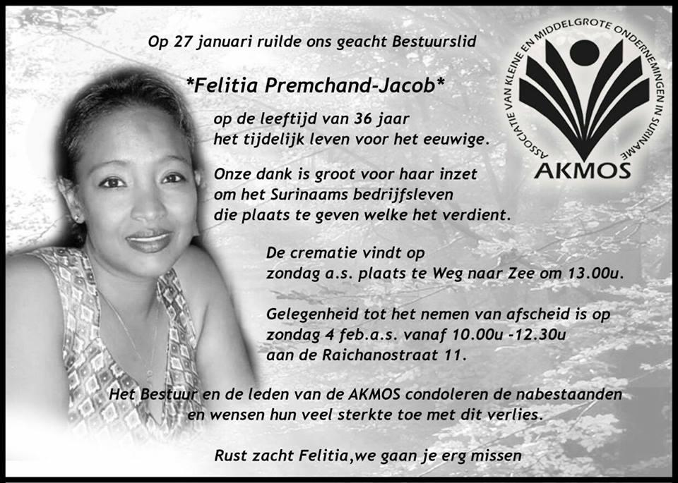 FamilieNieuws Suriname Overleden 36-jarige Felitia Premchand - Jacob