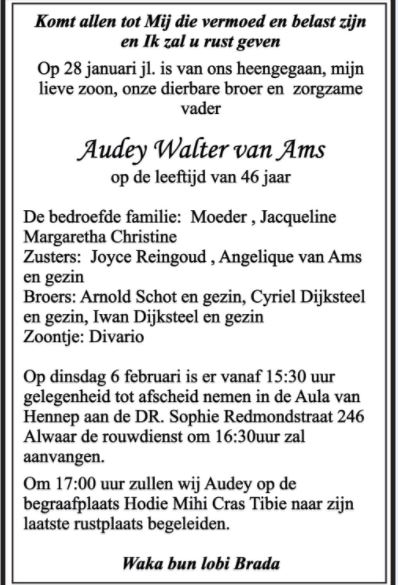 overleden Audey van Ams