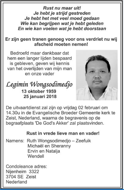 FamilieNieuws Suriname Overleden - 58-jarige Legimin Wongsodimedjo