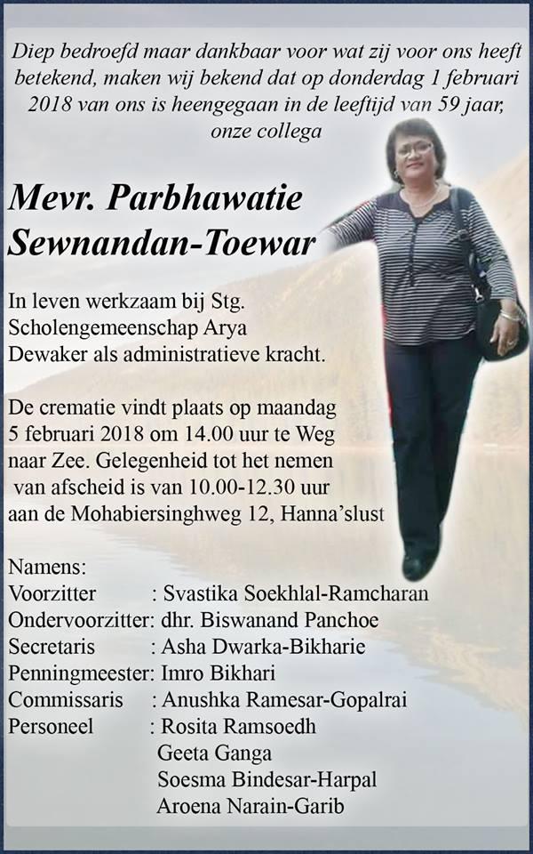 Overleden 59-jarige Parbhawatie Sewnandan - Toewar