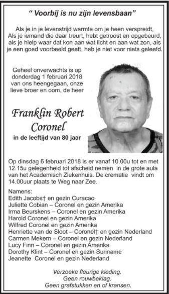 Overleden - Franklin Coronel