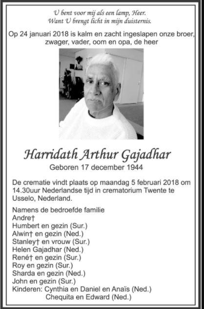 Overleden - Harridath Gajadhar