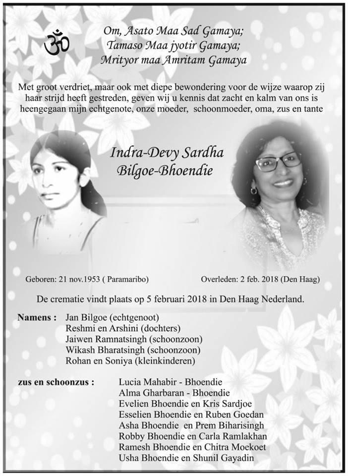 Overleden - Indra-Devy Bilgoe - Bhoendie