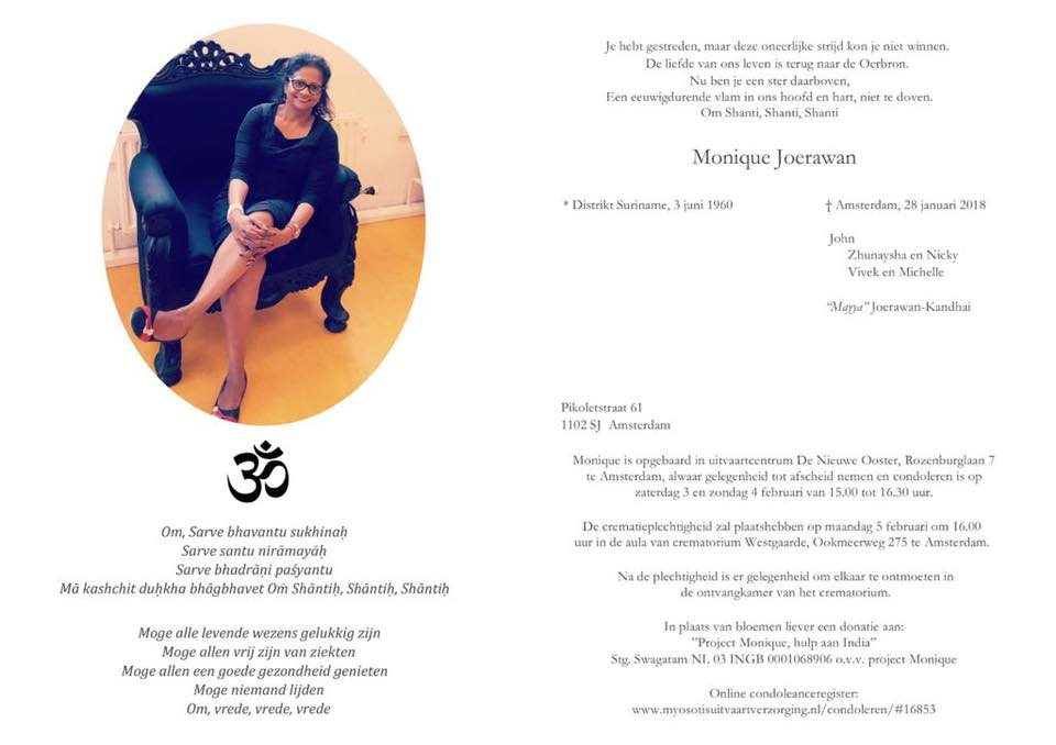 Overleden - Monique Joerawan FamilieNieuws Suriname Nederland