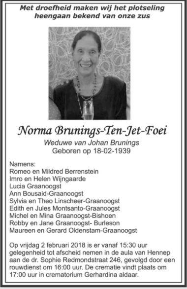 FamilieNieuws Suriname Overleden - Norma Brunings - Ten-Jet-Foei