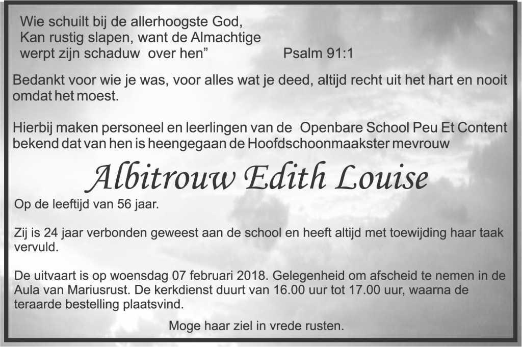 overleden Edith Albitrouw