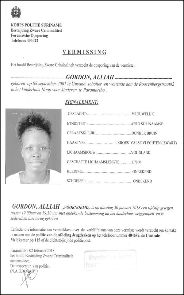 Vermissing - Alliah Gordon
