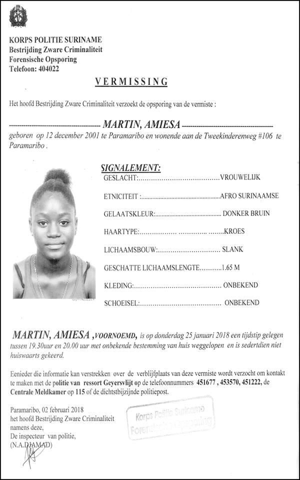 vermissing - Amiesa Martin