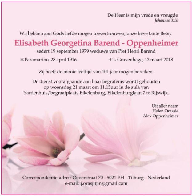 Elisabeth Barend - Oppenheimer