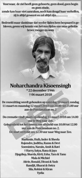 Overleden - Noharchandra Kisoensingh