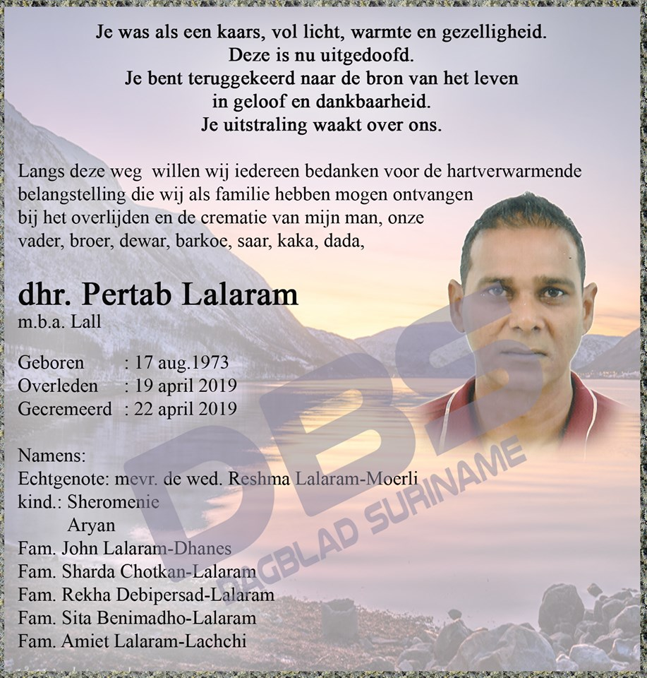 overleden Paramaribo
