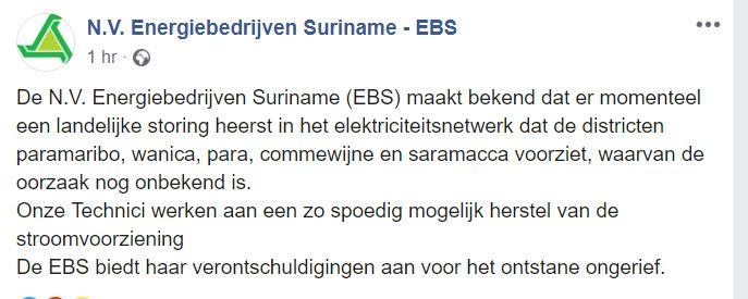 EBS Suriname stroom Paramaribo