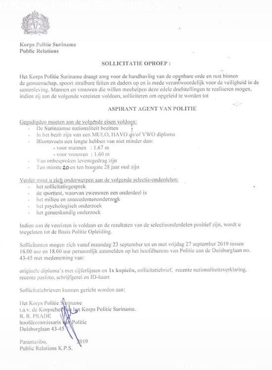 vacature politie Suriname