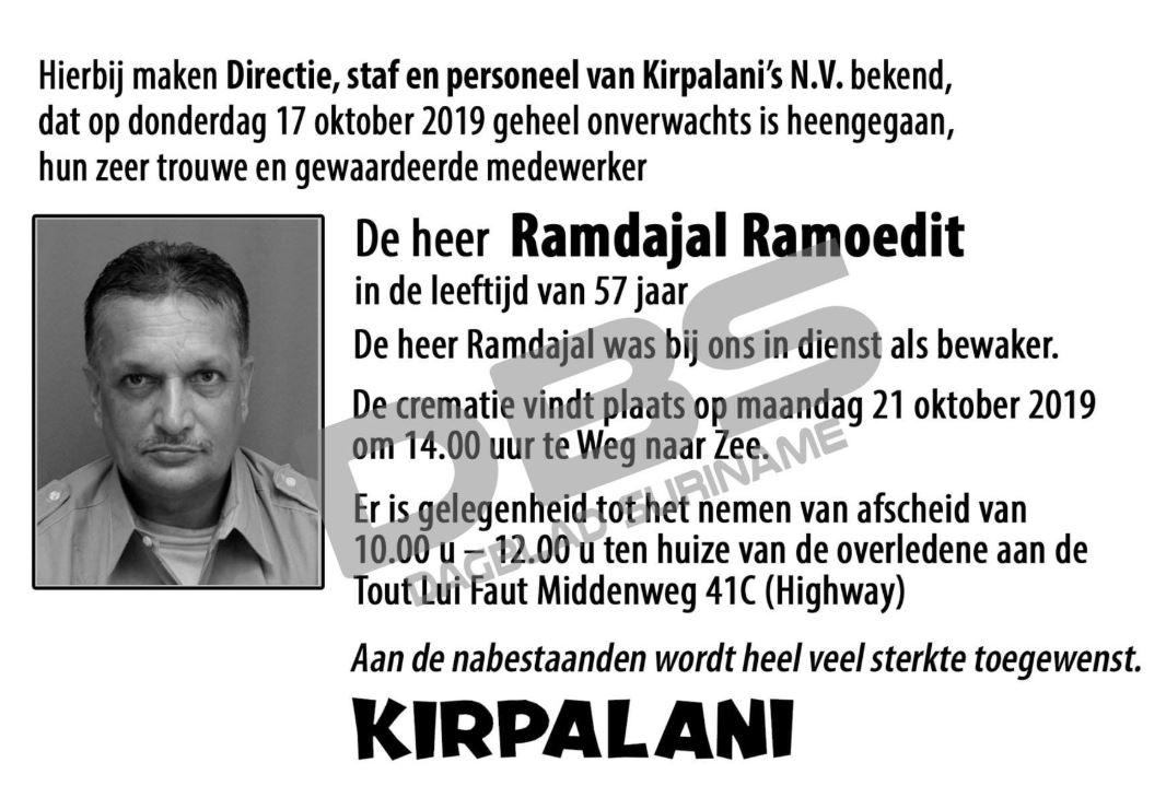 overleden Kirpalani Paramaribo