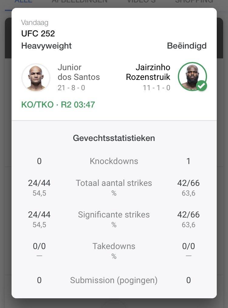 UFC 252 Jairzinho Rozenstruik wint met TKO van Junior Dos Santos