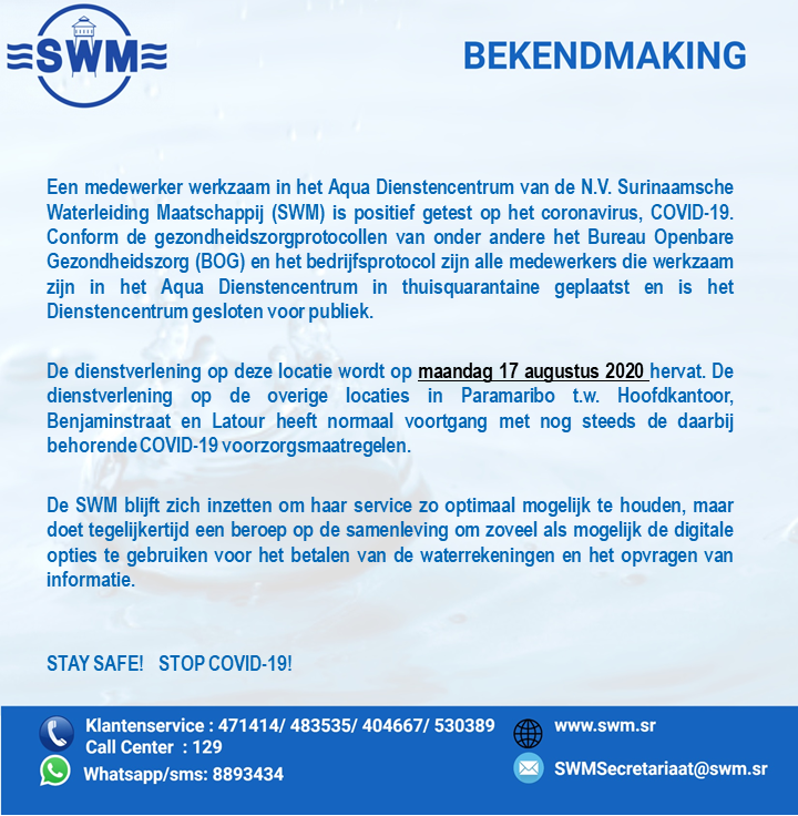 swm Suriname besmettingen