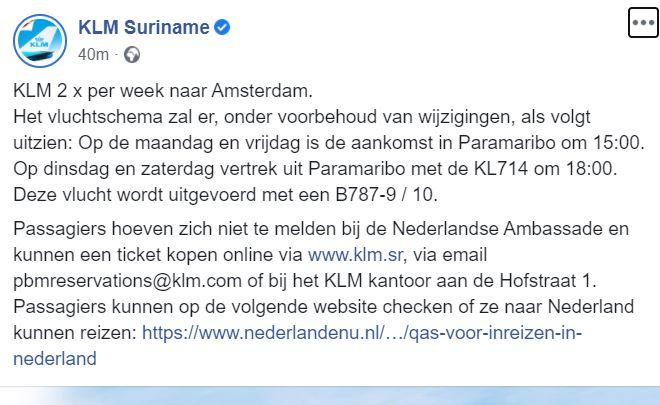 klm Suriname Nederland