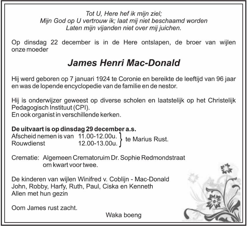 Mac Donald coronie