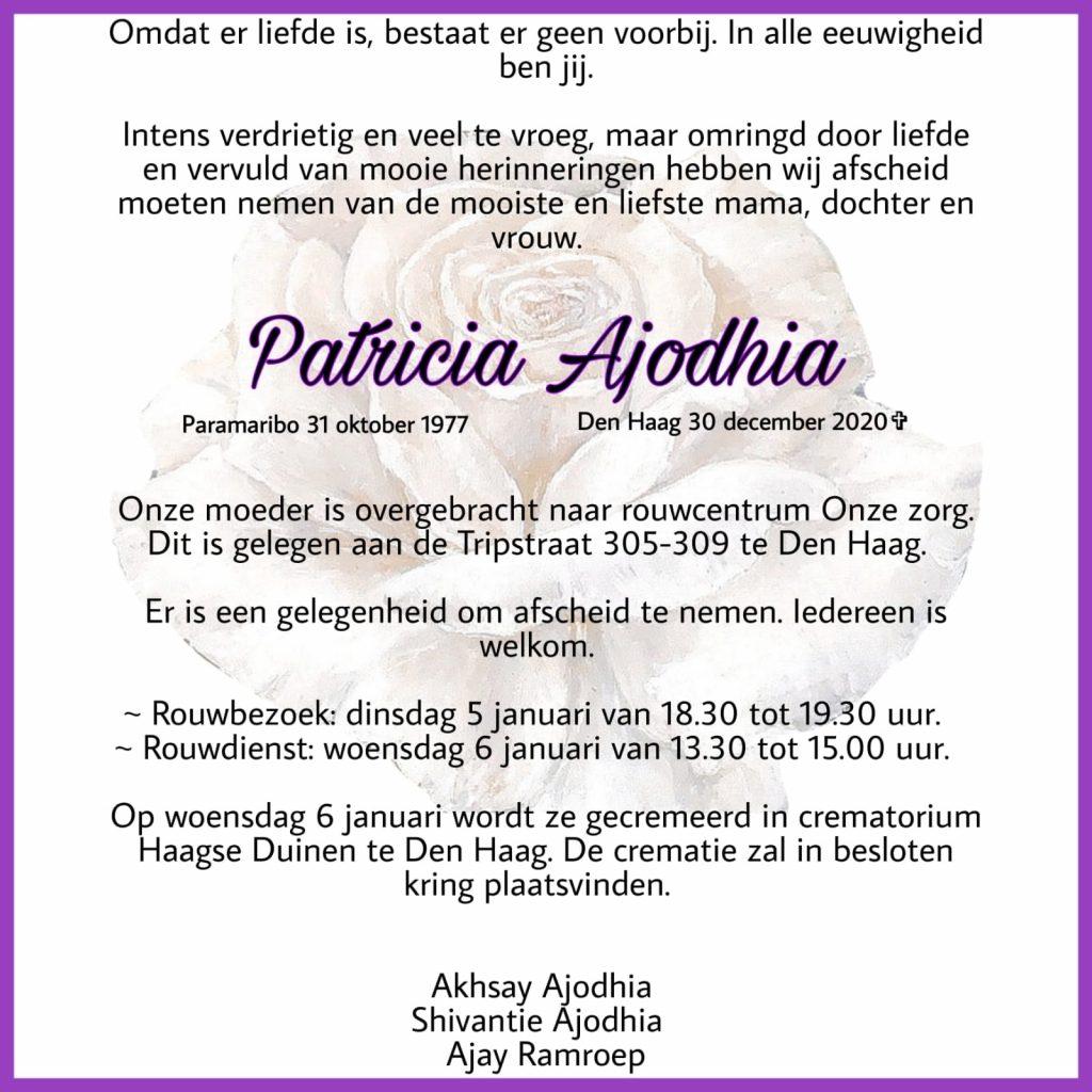 Ajodhia Patricia overleden Nederland