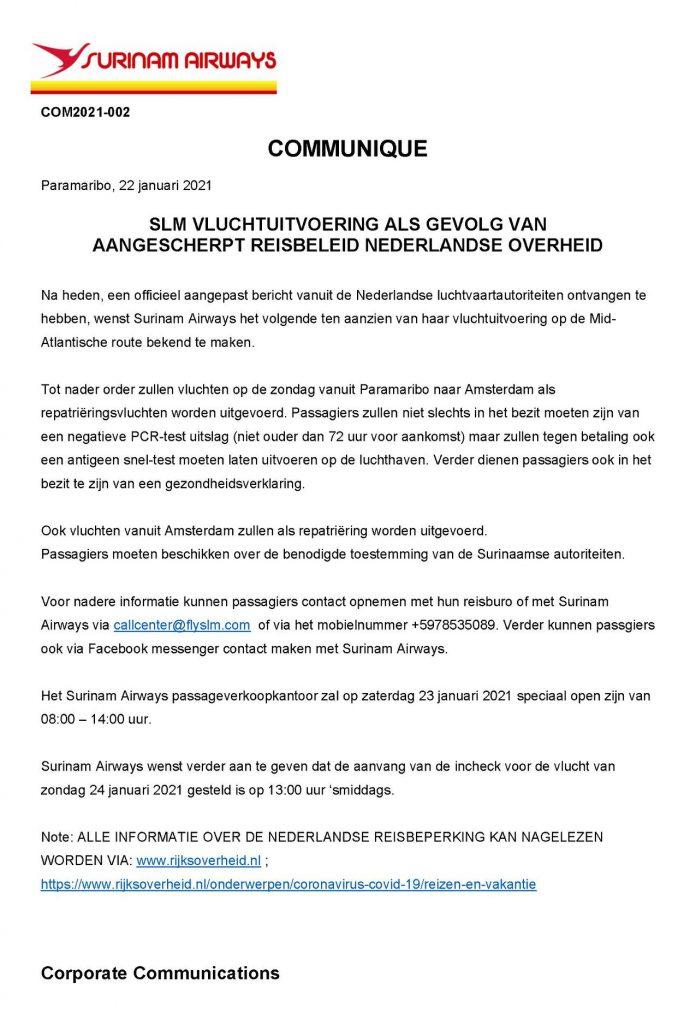 SLM KLM Nederland Paramaribo