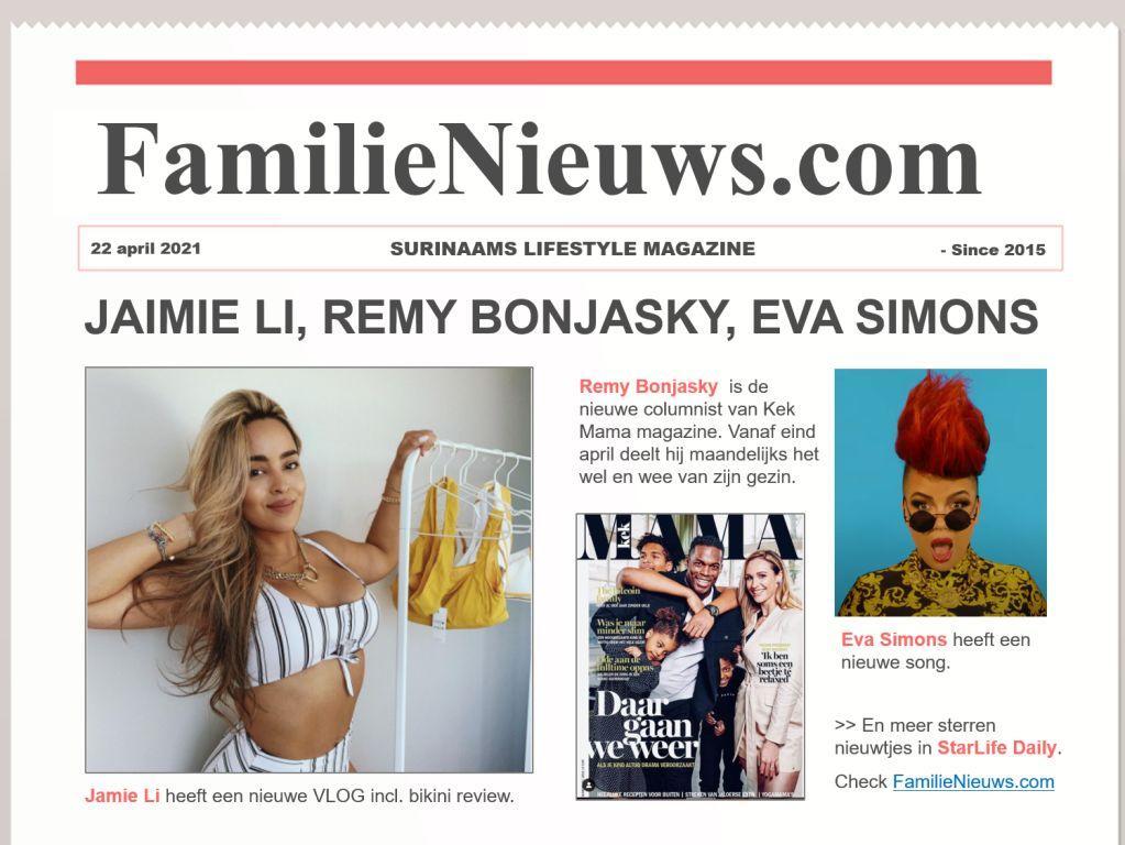 Jamie Li, Remy Bonjasky, Eva Simons en meer… StarLife Daily