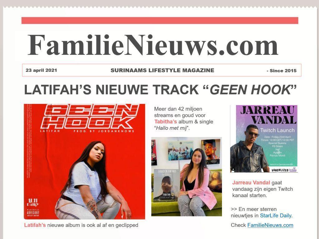 StarLife Daily - 23-04-2021 - Latifah, Tabitha, Jarreau Vandal en meer