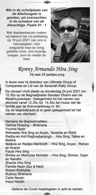 ronny Hira Sing afscheid