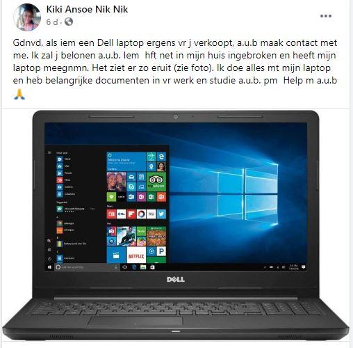 laptop gestolen Paramaribo Suriname