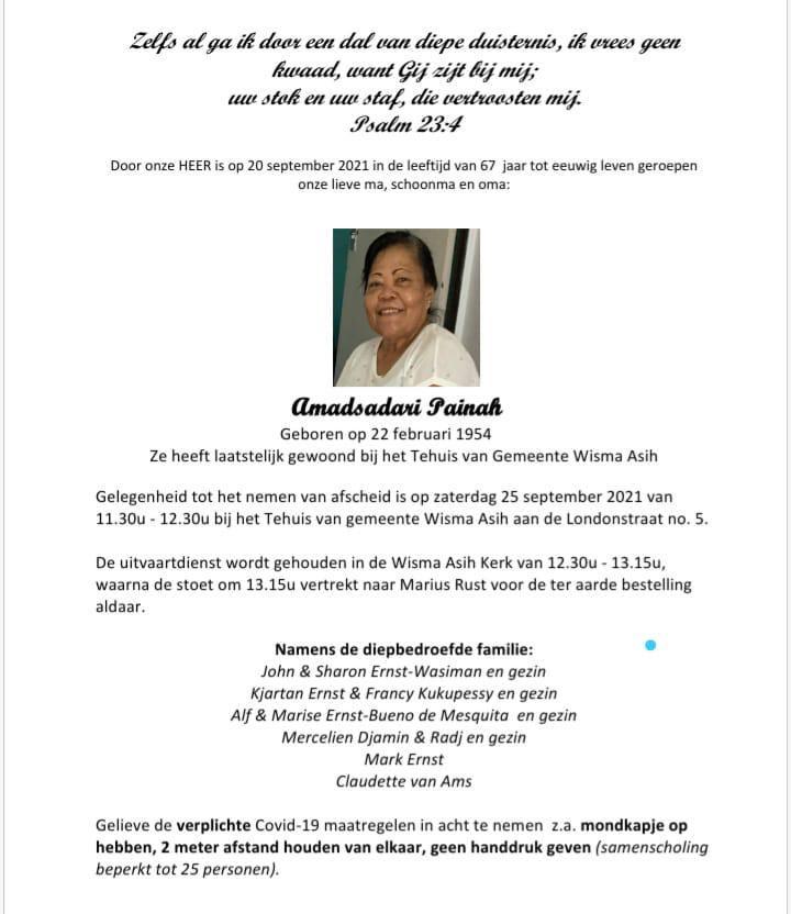 Ina Amadsadari mama Paramaribo