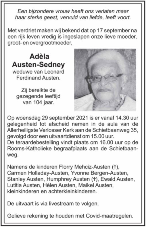 Adela sedney 104 jaar Paramaribo Suriname 12