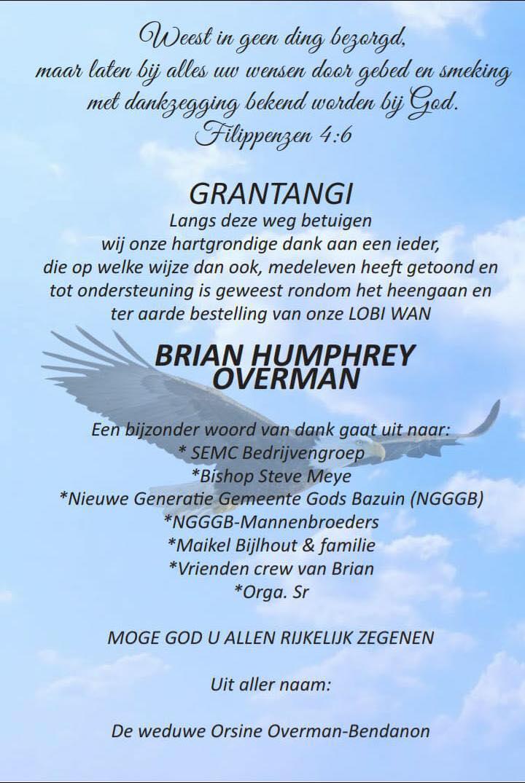 Brian overman dank jullie wel Paramaribo Suriname