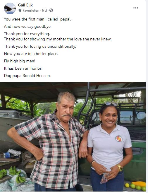 Oom Ro Ronald Hensen vader Gail Eijk Suriname Paramaribo